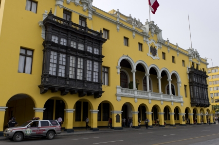 Low angle view of Municipal Palace Of Lima, Plaza Mayor, Historic Centre of Lima, Lima, Peru