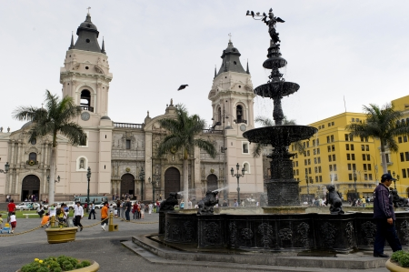 Facade of Cathedral Of Lima, Plaza Mayor, Historic Centre of Lima, Lima, Peru