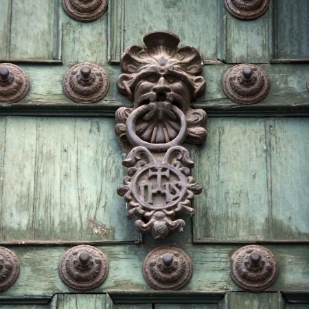 la compania: Door knob and rivets on a door, Templo De La Compania De Jesus, Cuzco, Peru