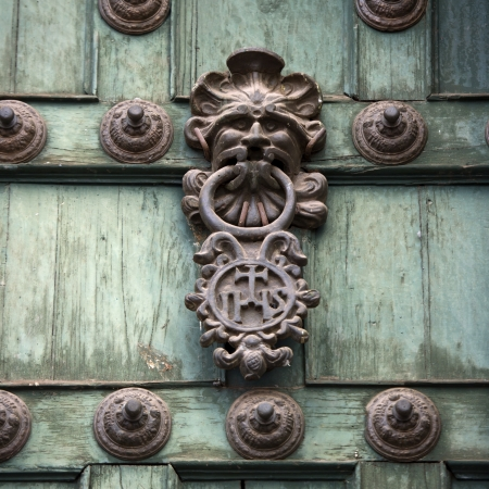 cusco province: Door knob and rivets on a door, Templo De La Compania De Jesus, Cuzco, Peru