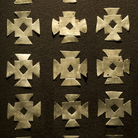 cusco province: Close-up of pattern on the wall of a museum, Museo De Arte Precolombino, Cuzco, Peru
