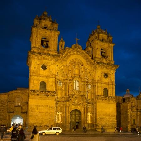la compania: Facade of Templo De La Compania De Jesus, Plaza de Armas, Cuzco, Peru