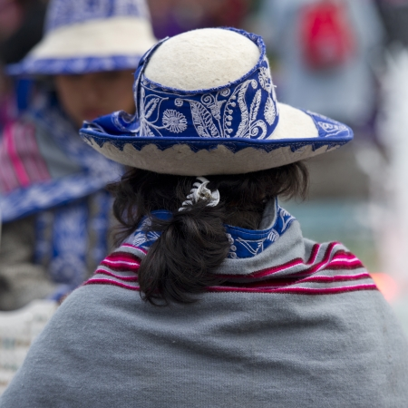 Rear view of a woman wearing a hat, Cuzco, Peru Stock Photo - 17227819