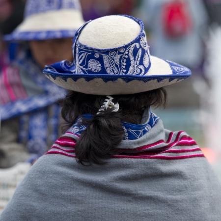 Rear view of a woman wearing a hat, Cuzco, Peru Stock Photo - 17227819