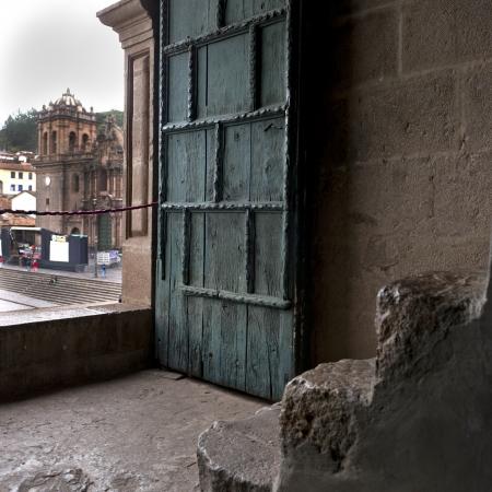 la compania: Door of Templo De La Compania De Jesus, Plaza de Armas, Cuzco, Peru Stock Photo