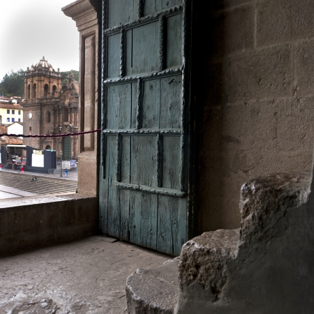 cusco province: Door of Templo De La Compania De Jesus, Plaza de Armas, Cuzco, Peru Stock Photo