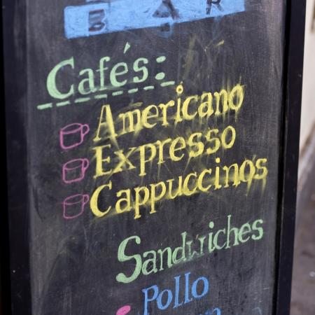 republic of peru: Close-up of a menu board, Cuzco, Peru Stock Photo