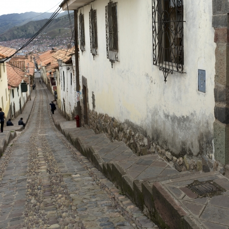 sacred valley of the incas: Houses along an alley, Sacred Valley, Machu Picchu, Cuzco, Peru