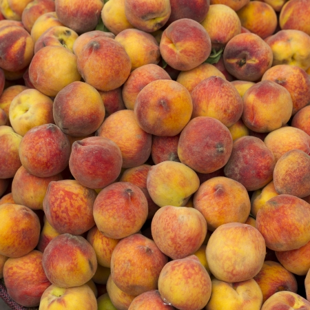 Peaches for sale at a store, Sacred Valley, Cusco Region, Peru Stock Photo