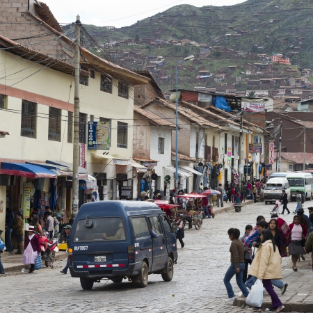 People in a street, Sacred Valley, Cusco Region, Peru
