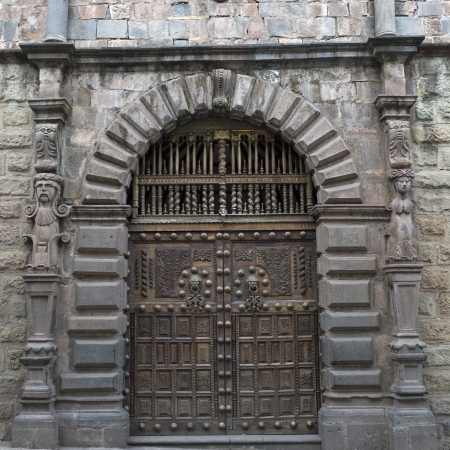 cusco region: Closed door of a building, Sacred Valley, Cusco Region, Peru Stock Photo