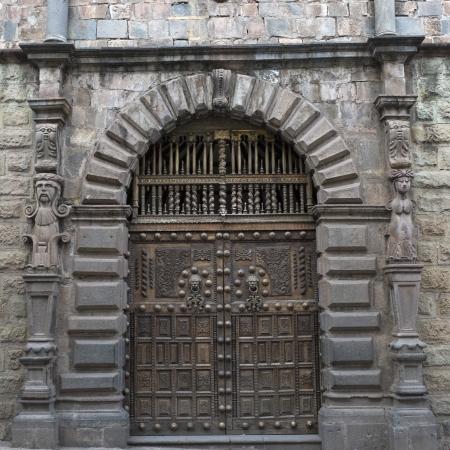 Closed door of a building, Sacred Valley, Cusco Region, Peru Stock Photo