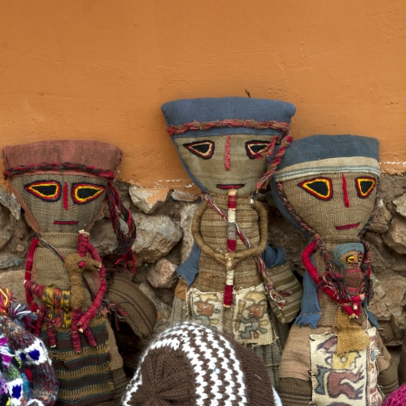 showpiece: Puppets at a store, Chinchero, Sacred Valley, Cusco Region, Peru Stock Photo