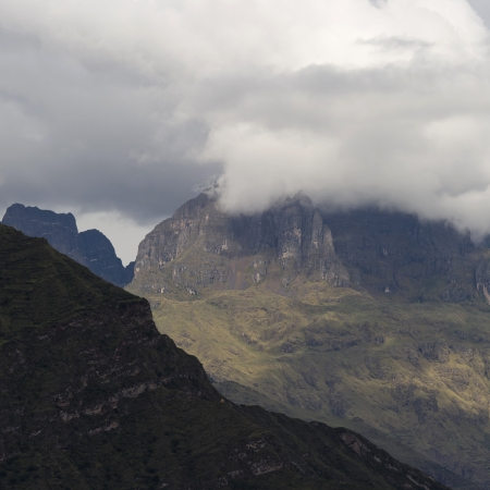 sacred valley of the incas: Clouds over mountains, Sacred Valley, Cusco Region, Peru Stock Photo