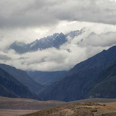 tranquilly: Clouds over mountains, Sacred Valley, Cusco Region, Peru Stock Photo
