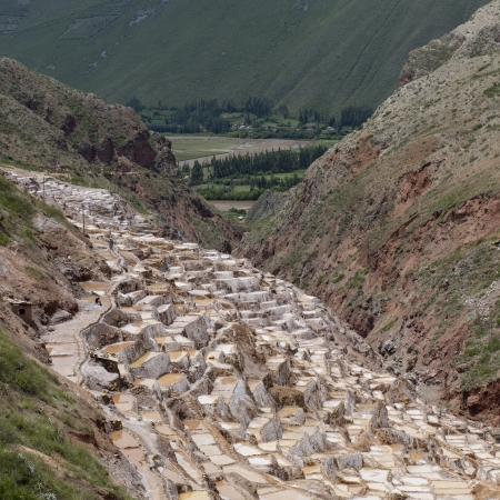 watershed: High angle view of terraced salt ponds, Salinas, Maras, Sacred Valley, Cusco Region, Peru