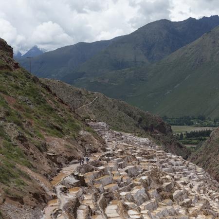 placidity: High angle view of terraced salt ponds, Salinas, Maras, Sacred Valley, Cusco Region, Peru