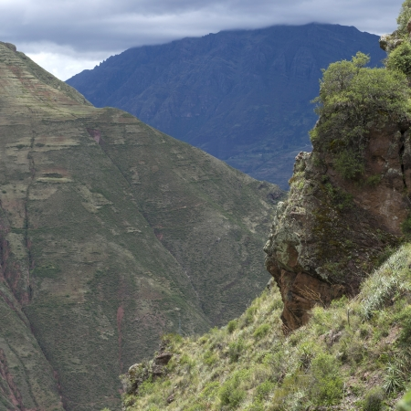 placidness: Clouds over mountains, Pisac, Sacred Valley, Cusco Region, Peru Stock Photo
