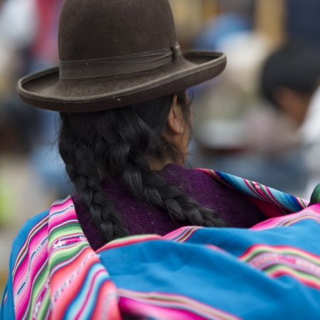 Woman shopping in a market, Pisac, Sacred Valley, Cusco Region, Peru Stock Photo - 16791588