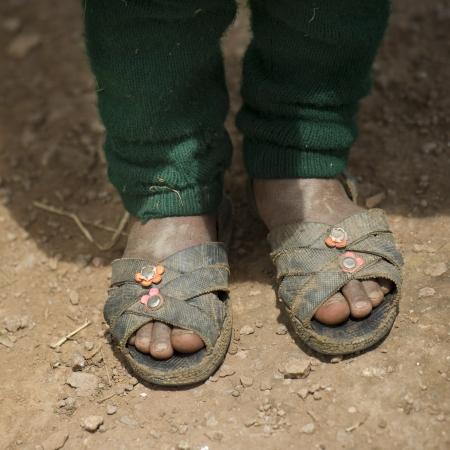 Girl's feet in sandals, Chumpepoke Primary School, Sacred Valley, Cusco Region, Peru Stock Photo - 16793226
