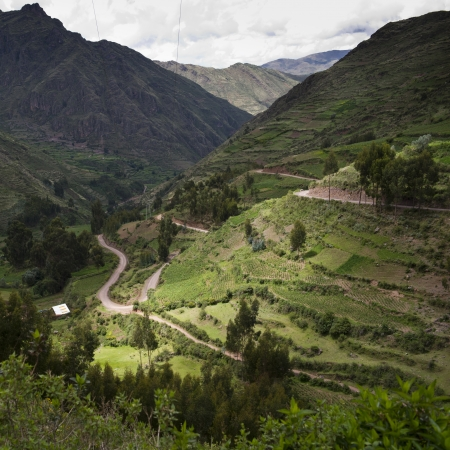 tranquilly: High angle view of terraced fields, Sacred Valley, Cusco Region, Peru