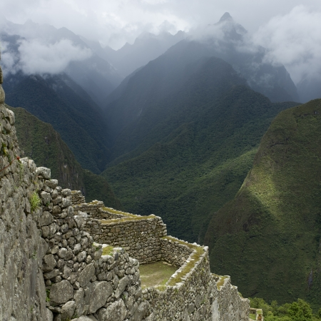 cusco region: Ruins of The Lost City of The Incas, Machu Picchu, Cusco Region, Peru Stock Photo