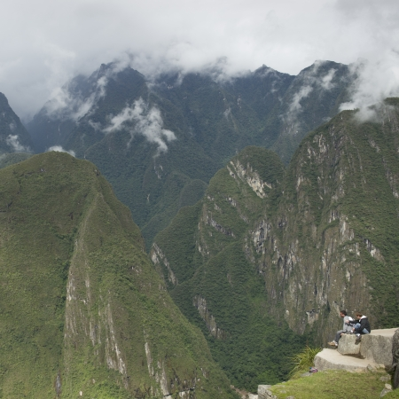 cusco region: Tourists at The Lost City of The Incas, Machu Picchu, Cusco Region, Peru Editorial