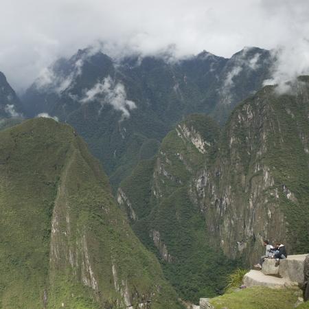 placidness: Tourists at The Lost City of The Incas, Machu Picchu, Cusco Region, Peru Editorial