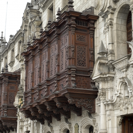 Low angle view of Archbishops Palace, Cathedral Of Lima, Plaza Mayor, Historic Centre of Lima, Lima, Peru photo