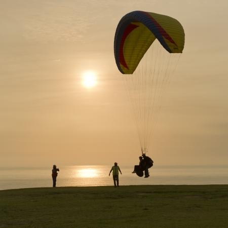 Tourists paragliding, Av De La Aviacion, Miraflores District, Lima Province, Peru Stock Photo - 16783255