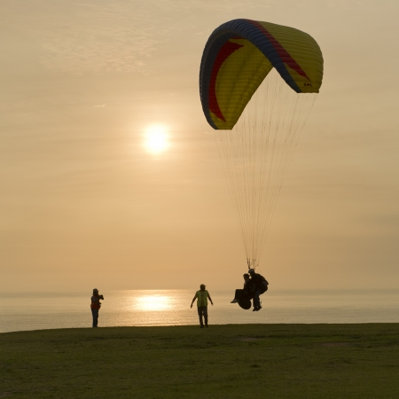 peace risk: Tourists paragliding, Av De La Aviacion, Miraflores District, Lima Province, Peru Stock Photo
