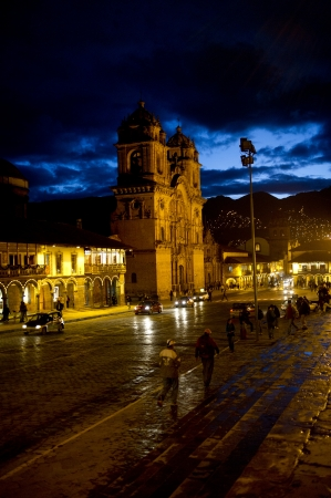 la compania: Cathedral lit up at night, Church De La Compania De Jesus, Plaza de Armas, Cuzco, Peru