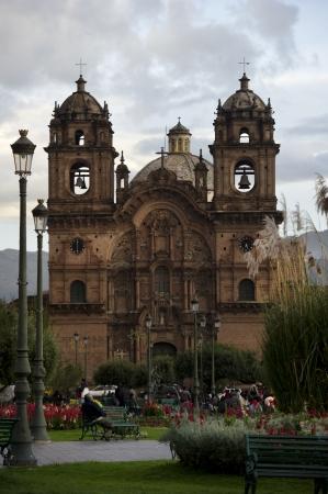 cusco province: Facade of a cathedral, Church De La Compania De Jesus, Plaza de Armas, Cuzco, Peru Editorial