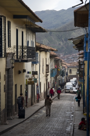 cuzco: Buildings along a street, Sacred Valley, Cusco Region, Peru Editorial