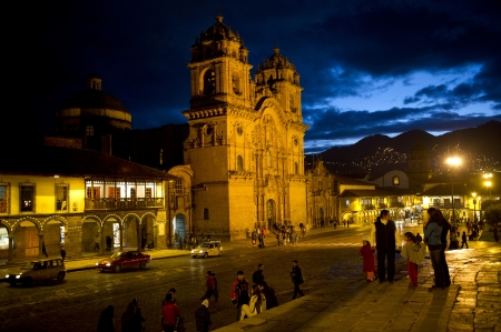 cuzco: Cathedral lit up at night, Church De La Compania De Jesus, Plaza de Armas, Cuzco, Peru