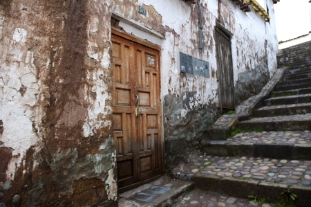 stone steps: Houses along a stepped walkway, Cuzco, Peru Stock Photo