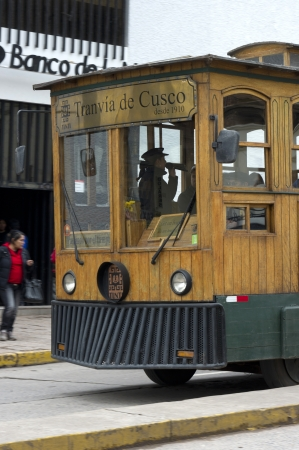 tramcar: Old tram-car in the city Cuzco, Peru