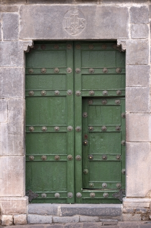 cusco province: Details of a door in Plaza De Las Nazarenas, Cuzco, Peru Stock Photo