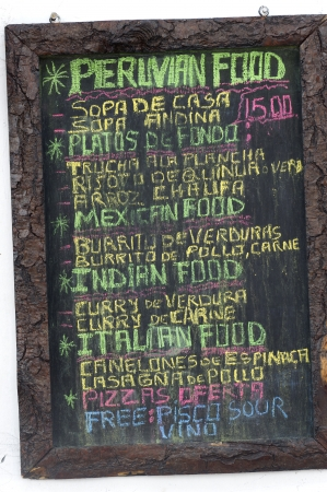 communicated: Menu on blackboard in Barrio De San Blas, Cuzco, Peru