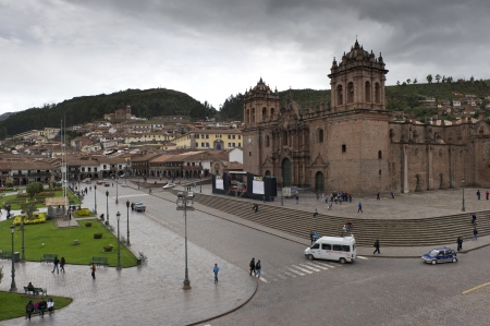 cuzco: High angle view tourists at Plaza de Armas, Cuzco, Peru Editorial
