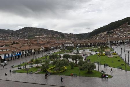 cusco province: High angle view tourists at Plaza de Armas, Cuzco, Peru Editorial