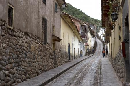 cusco province: Buildings along a street, Cuzco, Peru