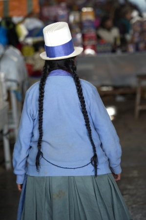 Rear view of a woman at a market, Mercado Central, Cuzco, Peru photo