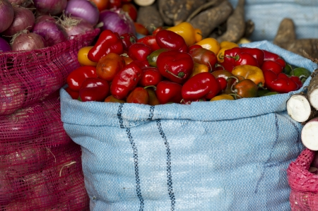 qusqu: Vegetables for sale at a store, Sacred Valley, Cusco Region, Peru Stock Photo
