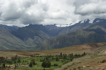 tranquilly: High angle view of Sacred Valley, Cusco Region, Peru Stock Photo