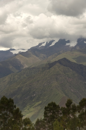 tranquilly: Clouds over a mountain range, Sacred Valley, Cusco Region, Peru Stock Photo