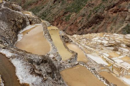 basin mountain: Salt pond, Maras, Sacred Valley, Cusco Region, Peru Stock Photo