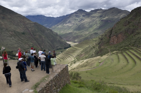 vacationer: Tourists at the Pisaq Inca Ruins, Sacred Valley, Cusco Region, Peru Editorial
