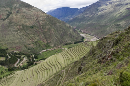 sacred valley of the incas: Agricultural field at Pisaq Inca Ruins, Sacred Valley, Cusco Region, Peru