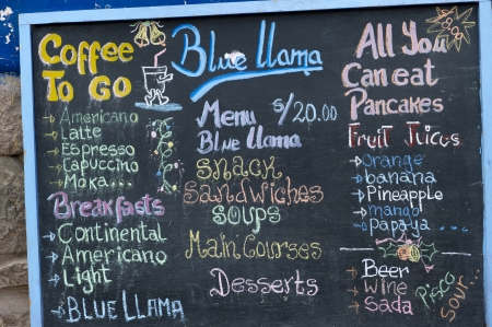 western food: Menu board at a restaurant, Pisac, Sacred Valley, Cusco Region, Peru